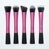 5 Pcs Pink Concealer Brushes Dense Powder Blush Brush Cosmetic Makeup Tool Metal Handle Free Shipping