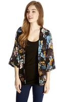 Spring Autumn New 2014 Women's Japan Kimono Open Stitch Coat With Black Floral Print Outwear Free Shipping