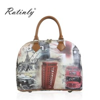 Ratinly Brand Colored Drawing Series Bags Scenic bus Print Women's Leather Messenger Vintage Totes Fashion Handbag