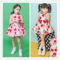 Free shipping Girl Dress 2014 New Fashion Polka Dots Princess Dress Children Bow Decorated Sleeveless Dress
