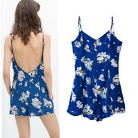 2014 New Summer Women's Floral Print Backless Strapless Halter Sling Short Pants Rompers Sleeveless Jumpsuit Bodysuit Overalls