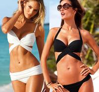Black and white sexy beach woman victoria swimwear bikini brazilian famous brand,free shipping high waist bikini bathing suit