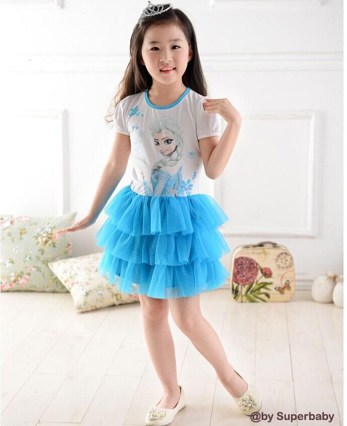 New baby girl's princess dresses 2014 summer fashion cartoon Anna tutu dress ruffles party dress children clothing 1-5Y(China (Mainland))
