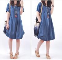 2014 new summer Korean style women dress plus size loose fold patchwork casual dress women free shipping n320