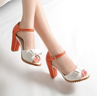 Women's thick heel sandals shoes bow color color decorative open-toed high-heeled sandals women M423