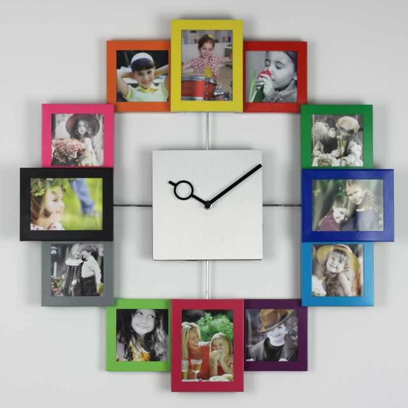 [ Dafen Qi ] living room color creative fashion wall clock silent clock personalized photo wall clock hanging large clocks(China (Mainland))