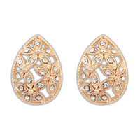 2014 New Bohemia Hot Sale Earrings Gold Plated Hollow Out Crystal Flower Water Drop Elegant Ear Stud Min Order is $10 Can Mixed