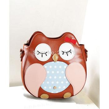Новое поступление 2014 женских мультфильм животных сова стиль сумки женщин ПУ кожа телефон сумки на ремне, кросс- тело бантом сумки