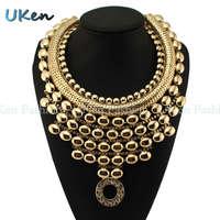 New Fashion Evening Dress Jewelry Exaggerated Brand Style Rhinestone Chain Choker Chunky Bib Statement Pendant Necklace N2023