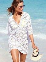2014 new fashion, sexy woman sexy girl openwork crochet sleeve summer swimsuit bikini cover up beach dress Size Free Shipping