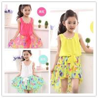 Free Shipping Kids Clothes Girl Dress Summer 2014 Sleeveless  Asymmetric Chiffon Dress Girls Casual Princess Pleated dress