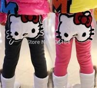 Hot sale,girls lovely cartoon hello kitty pants,winter trousers/ thick fleece leggings for children