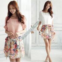 High quality New 2014 dress summer casual Women Crewneck Chiffon Short Sleeve Mini Printing Floral Dress 2 colors 14510
