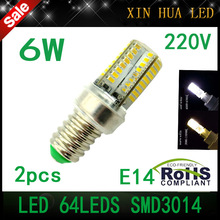 2pcs AC 220V High Power Silica Gel E14 3014SMD 64leds 6W Lamps LED Refrigerator Fridge Light  Bulb lamp  Corn lamp free shipping(China (Mainland))