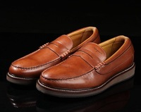 The new 2014 British style head layer cowhide imported high-quality goods noble men's shoes free shipping