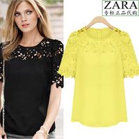2014 summer plus size clothing top fashion cutout lace chiffon shirt female short-sleeve shirt