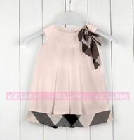 4 Colors New Design Baby Girl dress Sleeveless classic plaid dresses Cute bow dress Summer Fashion Princess dress clothing