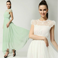 Women's Chiffon Lace Dresses Maxi Dress Top Quality Ankle-Length Bohemian Style A1028
