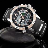Hot sale! Brand Weide Men's Military Dive Swimming Watch Dual Time Led Digital Analog Quartz Wrist man Sports Watch Chronograph