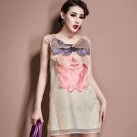 2014 European Fashion Sleeveless Organza Dress Women Summer Novelty Dresses High Quality