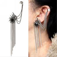 New 2014 Fashion Gothic Punk Tassel Clip Earrings, Sunflower Crystal Earcuff Earrings For Women Ear Charms Wholesale,  A512