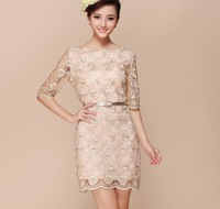 new 2014 fashion Spring models gold lace sleeve dress embroidered Slim round neck bottoming female organza  clothing set