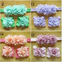 2014  wholesale newborn headbands mini chiffon flowers baby barefoot sandals and headband set girls hair accessories 5set/lot