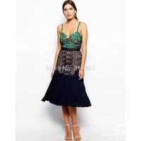 2014 self protrait style lace long patchwork dress, S/M/L