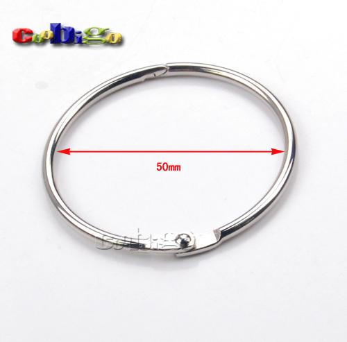 "20pcs 2"" (50mm) Inner Dia.Loose Leaf Binder Hinge Snap Ring Opening Hook Holder Nickel Plated Iron O-Ring #FLQ075-50(China (Mainland))"