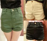 Fashion 2014 New women jean shorts solid color high-waist slim shorts summer clothing roll-up hot denim shorts