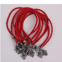 100 pcs Wholesale Mixed Kabbalah Hamsa Hand Charms Leatheroid Braided String Bracelets red