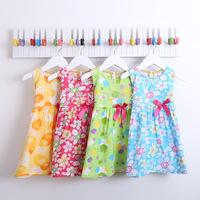 Girls Summer Dress New 2014 Children Sleeveless Print Dresses Fashion Girl Flower Dress for 2-7Y High Quality Brand Cute Retail