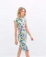 2014 summer new women's vintage flower print dresses bodycon floral dress for women desigual ladies' elegant evening party dress