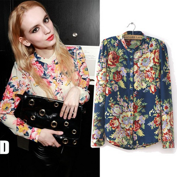 Free Shipping European Fashion Style 2014 Spring&Summer Womens New Vintage Floral Print Long Sleeve Blouses & Shirts WBS004(China (Mainland))