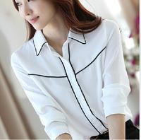 Spring And Autumn New Women Chiffon Blouse Shirt Wear Loose Long-Sleeved Shirt Bottoming Shirt WCS03