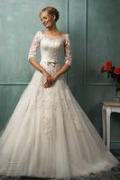 New Fashion White ivory Wedding Dress A Line High Collar Bows Lace Modern High Quality Bridal Gown Custom Size