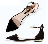 New  2014 Brand Design Summer Women Flip Flops Genuine Leather Metal Buckle Sandals for Women Plus Size 33-40 Wholesale