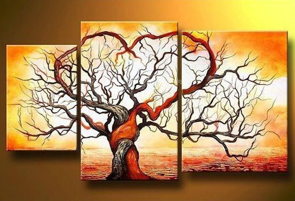 3 peça abstrata moderna muti painel da parede da lona do ramo de árvore colorida artesanal lona pintura a óleo para sala de estar decoração(China (Mainland))