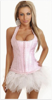FISHION pattern piece fitted pink sexy lace underwear lacing corset woman clubs G-string S, M, L, XL 3050