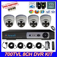 700TVL CMOS 8ch Full D1 HDMI DVR CCTV KIT Day Night Array Led 35M IR distance Security Camera Surveillance Video System Home DIY