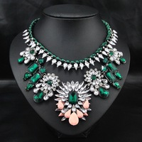 Wholesale Fashion Brand Jewelry Vintage Euro Style Women Costume  Emerald Acrylic Jewelry Big Choker Jewelry statement necklace