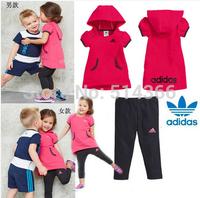 New 2014 Girl/ Boy Summer Clothing Set Baby Boys girls clothing sets children casual T-shirt+kids Pants free shipping