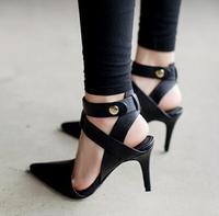 New 2014 Brand Design 8cm  Black Brife Women's Work Black High Heels Gladiators Sandals Shoes