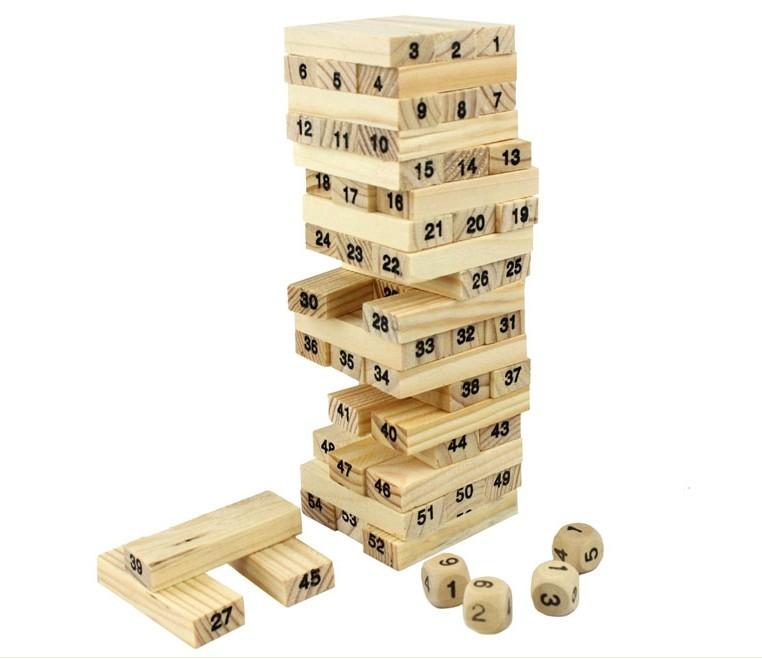 54 Blocks+4 Dices Wooden Tumbling Stacking Jenga Tower Children Game Freeshipping&Wholesale(China (Mainland))