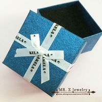 Top Quality Bowknot Ribbon Blue Paper Packing Gift Jewelry Box Display Necklace Earrings Rings Boxes 10pcs/lot Free Shipping