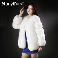 ManyFurs-100% genuine pure Fox fur women coat whole piece slim warm natural furs winter coats brand free shipping by EMS