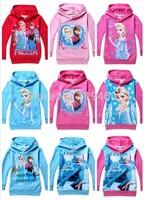 Girls Frozen hoodies princess Elsa Anna hoody coat full long sleeve sweatshirts Frozen Clothes 9 designs Free Shipping