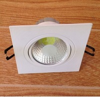 Dimmable white shell 5W COB White Square LED Downlight Ceiling LED Lamp, High Power LED COB Square Downlight Ceiling Lamp