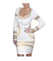 Godbead  Celebrity Kim Egypt Gold Foil Print Long Sleeve Bodycon Dress pencil dress
