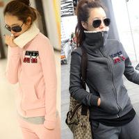New 2014 autumn and winter clothing set thickening fleece sweatshirt berber women coat casual sports set fur & leather X19